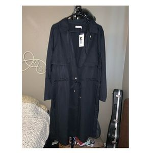 Just Fab women's black trench coat size 1X NWT